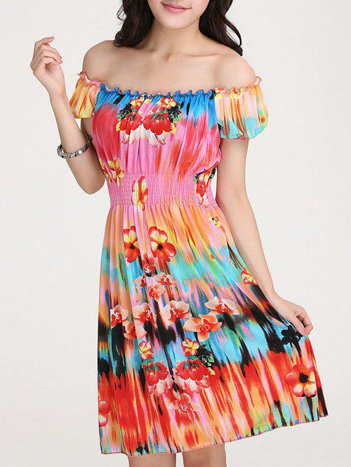 Women's Trendy Scoop Neck Short Sleeve Colorful Print Dress - DARKSALMON ONE SIZE(FIT SIZE XS TO M)