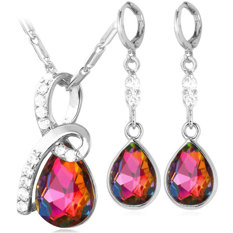 A Suit of Chic Water Drop Shape Necklace and Earrings For Women