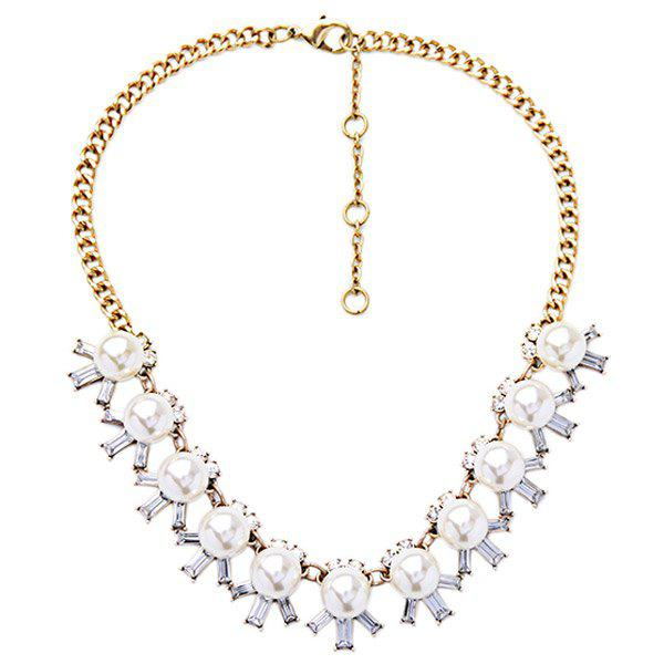 Adjustable Faux Pearl Gem Decorated Necklace - COLORMIX