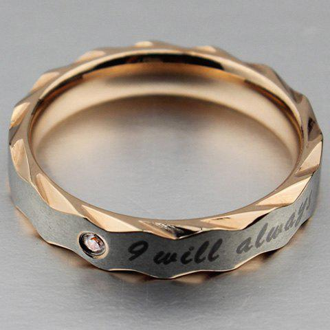 Stylish Rhinestone I Will Always Love You Alloy Women's Ring - ROSE GOLD