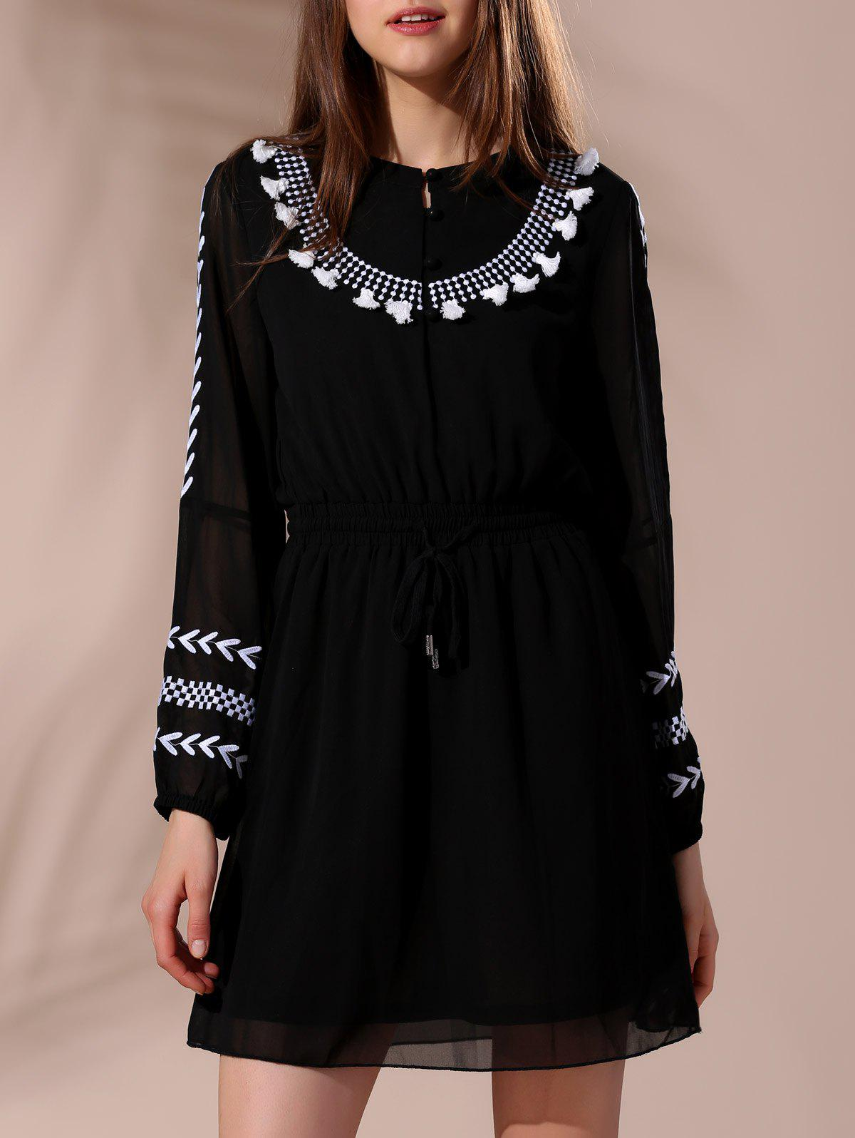 Ethnic Women's Round Neck Embroidered Long Sleeve Drawstring Dress - BLACK S