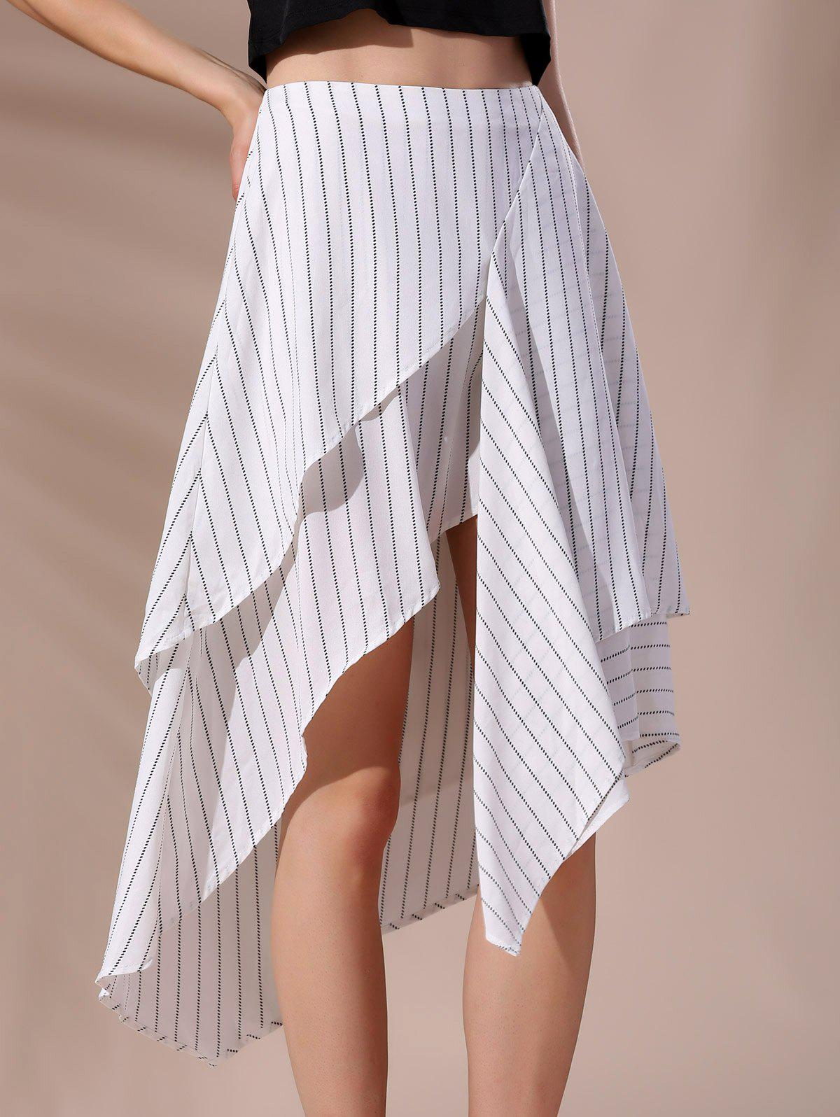 Fashionable Women's High-Waisted Pinstriped Asymmetrical Skirt - WHITE L