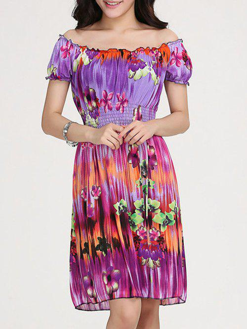 Women's Trendy Floral Print Scoop Neck Short Sleeve Dress - VIOLET ONE SIZE(FIT SIZE XS TO M)
