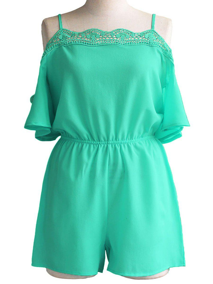 Stylish Cut Out Spaghetti Strap Solid Color Women's Romper - GREEN S