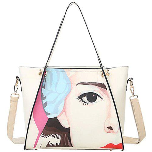 Casual Figure Print and PU Leather Design Women's Shoulder Bag - OFF WHITE