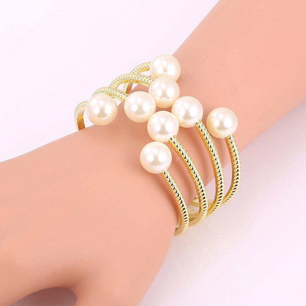 Faux Pearl Hollow Out Strand Bracelet - GOLDEN