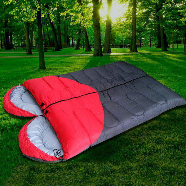 Motif Coeur Portable Moistureproof Waterproof Double Camping Sac de couchage - Rouge