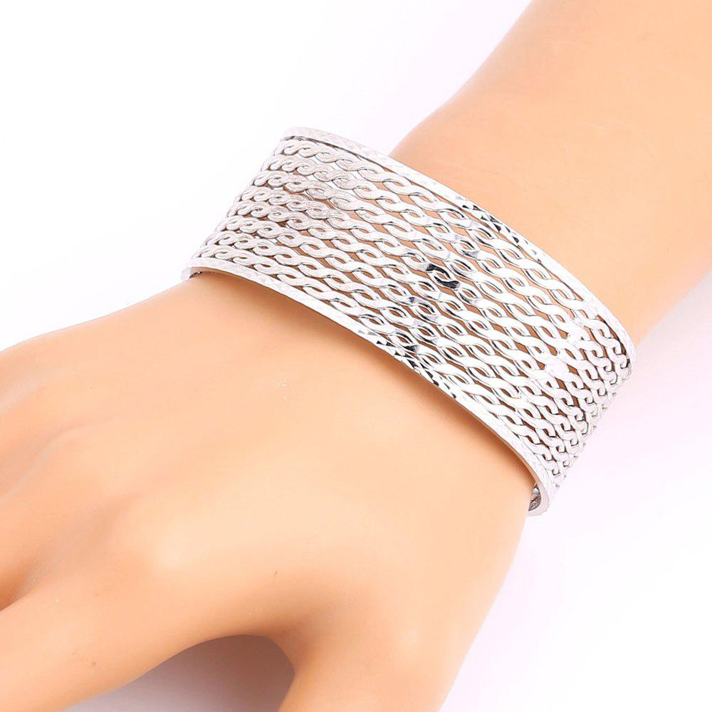 Hollow Out Hemp Flowers Plated Cuff Bracelet - SILVER