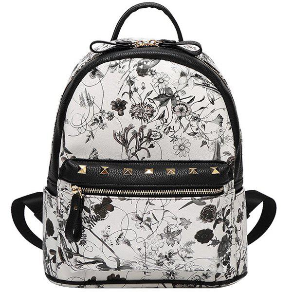 Stylish Floral Print and Rivet Design Women's Satchel - WHITE/BLACK