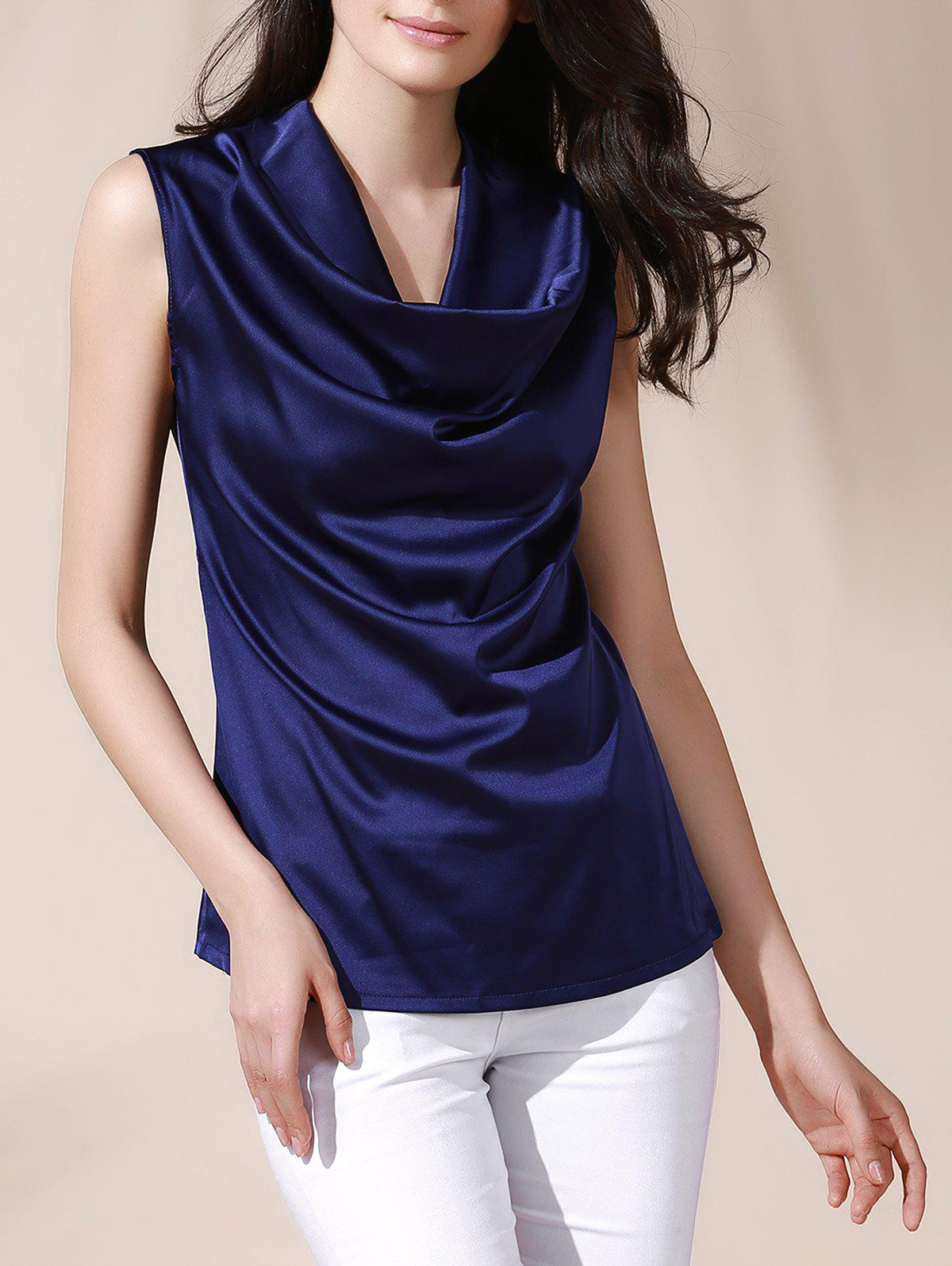 Graceful Women's Cowl Neck Solid Color Sleeveless Blouse - DEEP BLUE L