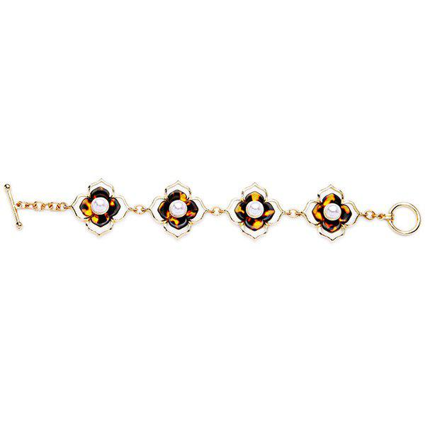 Faux Pearl Resin Decorated Flower Bracelet - COLORMIX