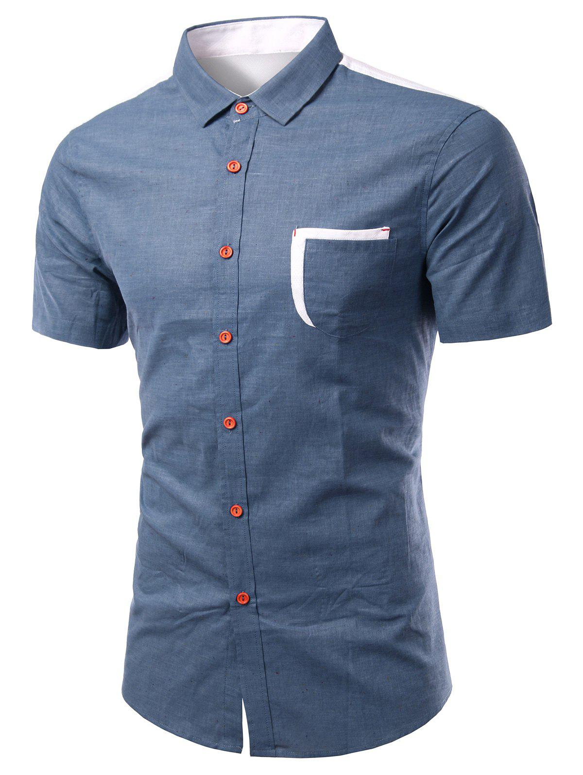 Color Block Spliced Design Turn-Down Collar Short Sleeve Men's Shirt - BLUE S