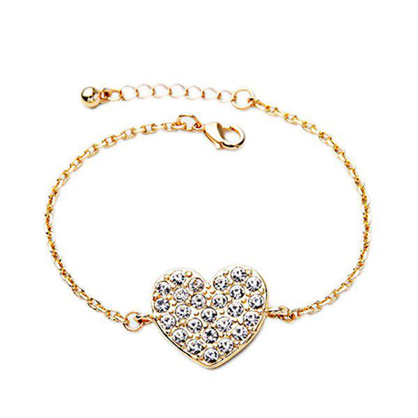 Elegant Rhinestoned Heart Golden Bracelet For Women