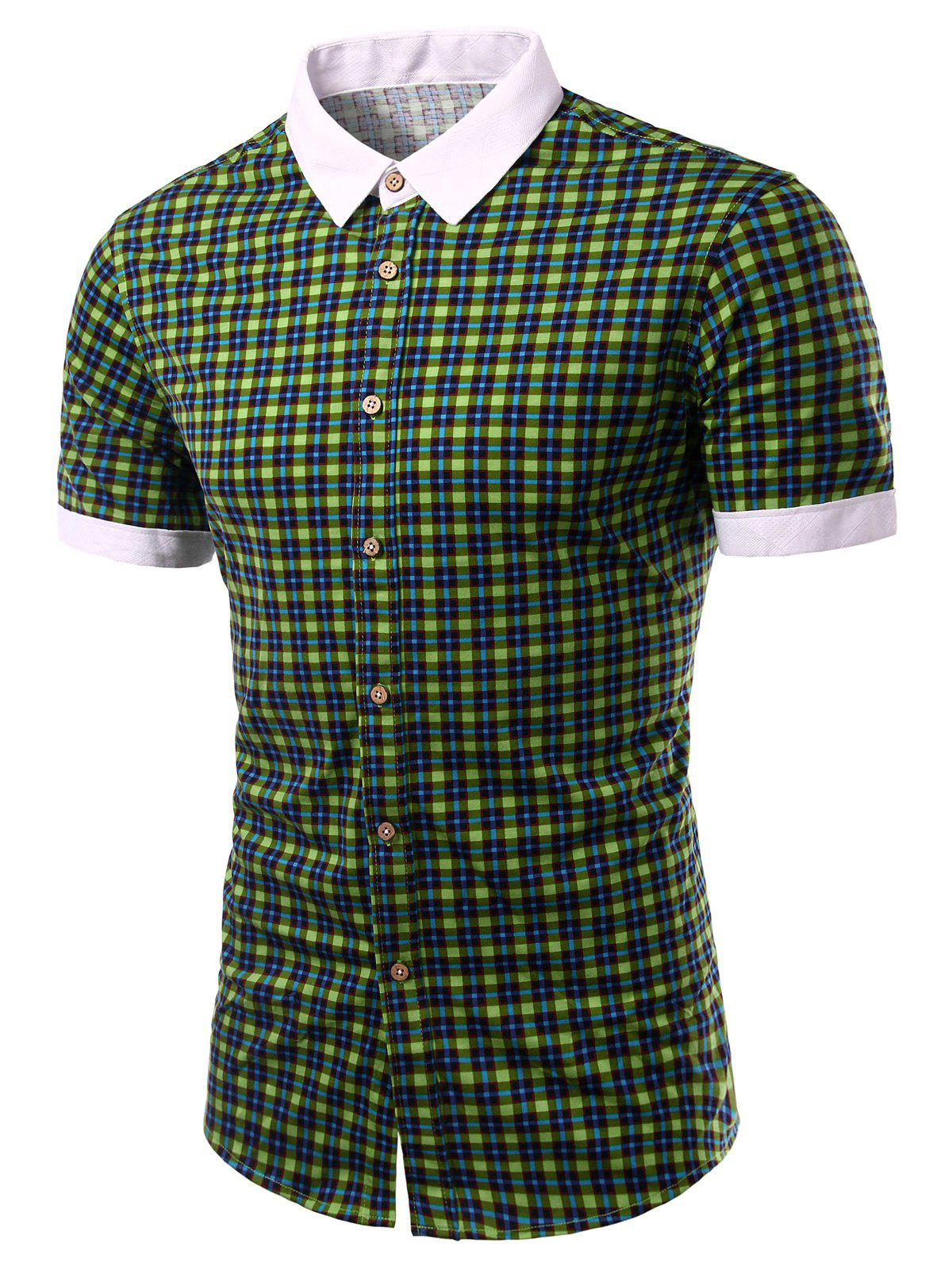 Color Block Checked Design Turn-Down Collar Short Sleeve Men's Shirt - GREEN S