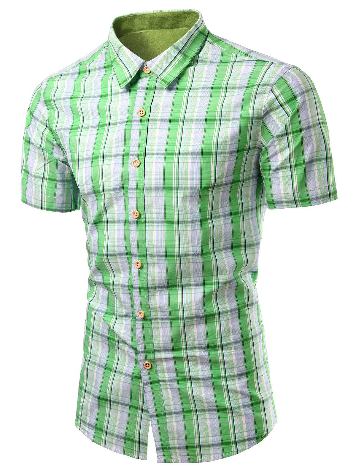 Checked Design Turn-Down Collar Short Sleeve Men's Shirt - GREEN S