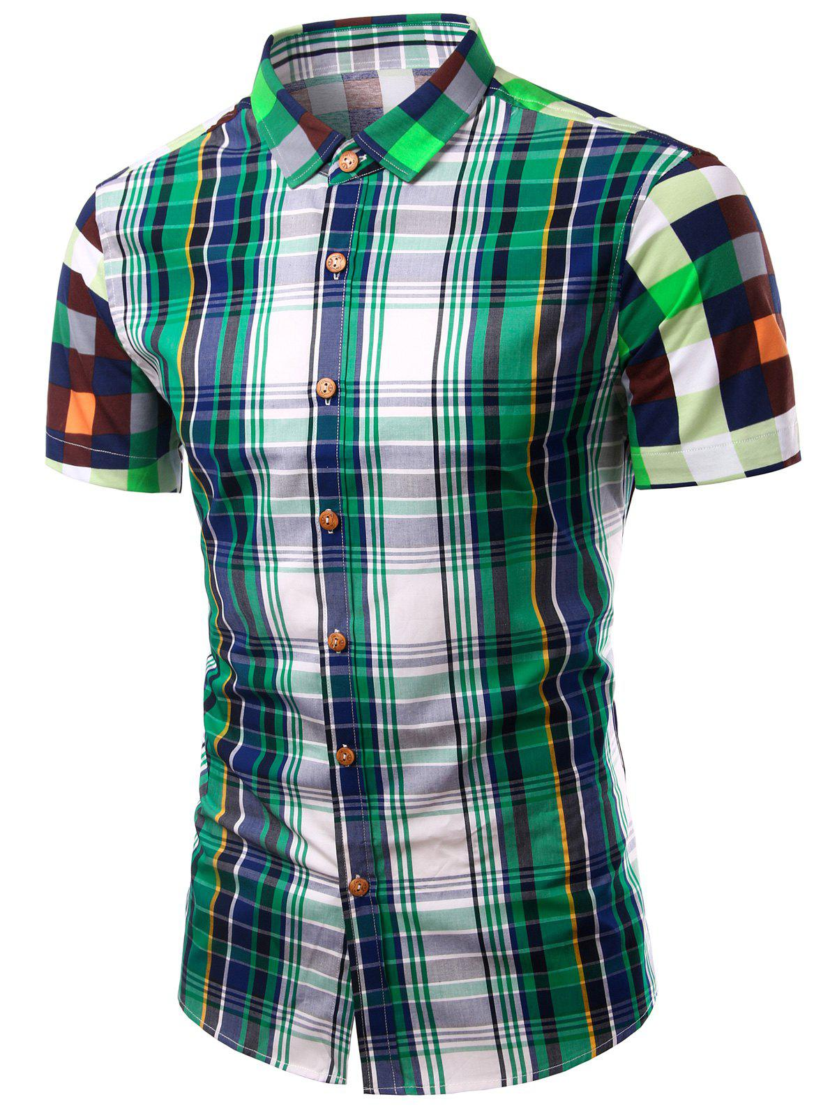Color Block Plaid Design Turn-Down Collar Short Sleeve Men's Shirt - GREEN S