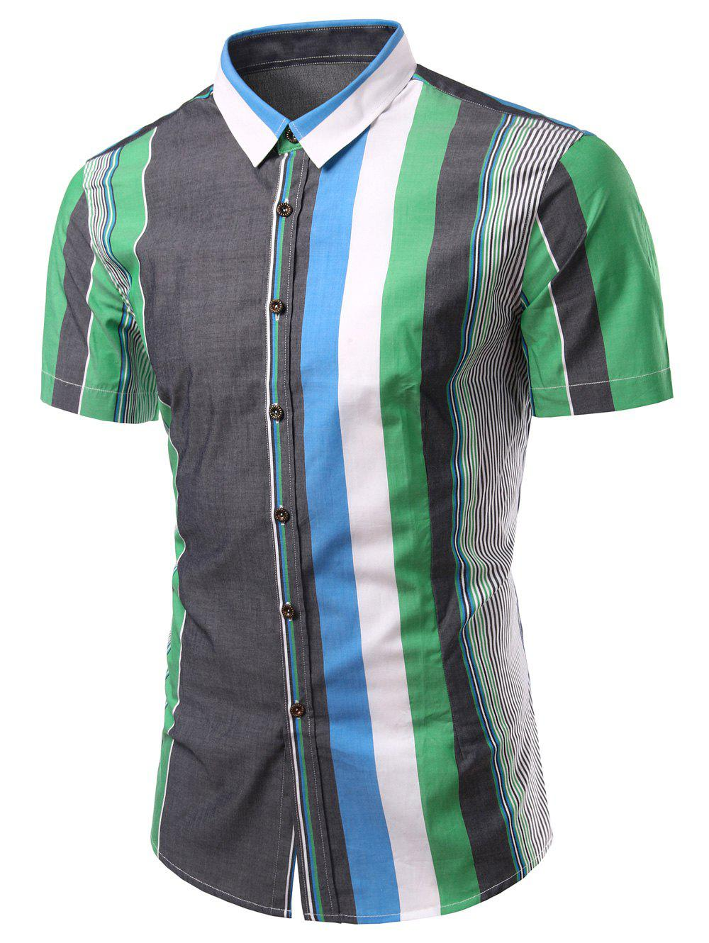 Color Block Splicing Stripe Turn-Down Collar Short Sleeve Men's Shirt - GREEN S