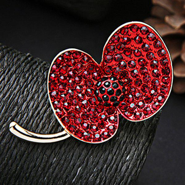 Rhinestone Bean Sprout Brooch - RED