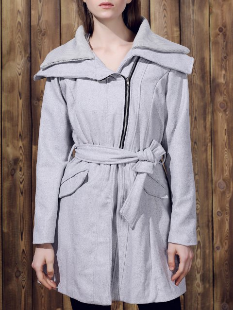 Stylish Long Sleeve Turn-Down Collar Spliced Zip Up Women's Belted Coat - GRAY M