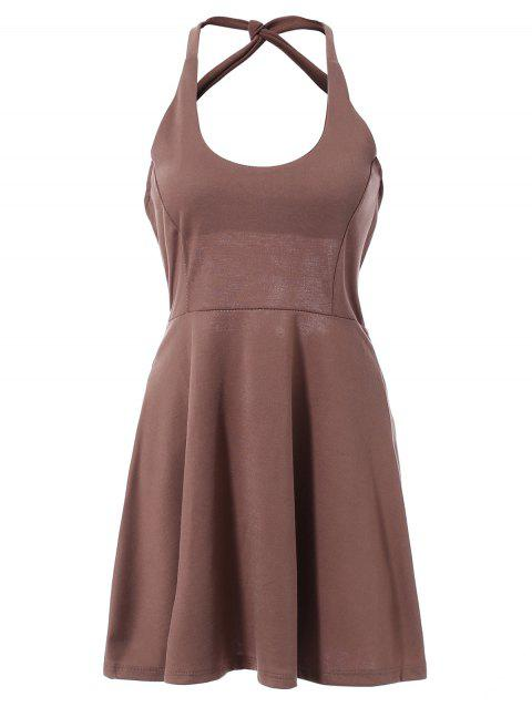 Fashionable Sleeveless Backless Solid Color Hollow Out Women's Dress - DEEP BROWN XL