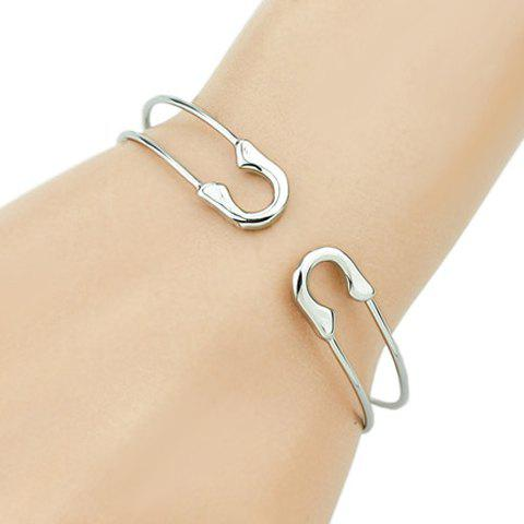 Hollow Out Safty Pin Shape Bracelet - SILVER