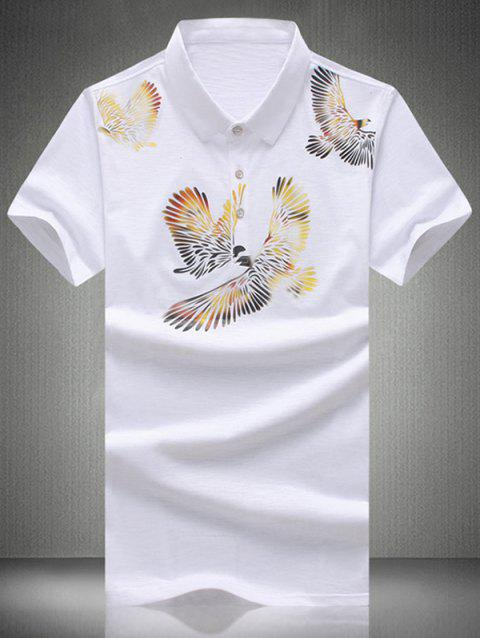 Plus Size Turn-Down Collar Eagles Imprimer Polo T-shirt de manches courtes hommes - Blanc L