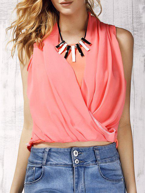e62a98a4a1 Trendy V-Neck Solid Color Chiffon Spliced Women's Tank Top - LIGHT PINK S.  Sold Out