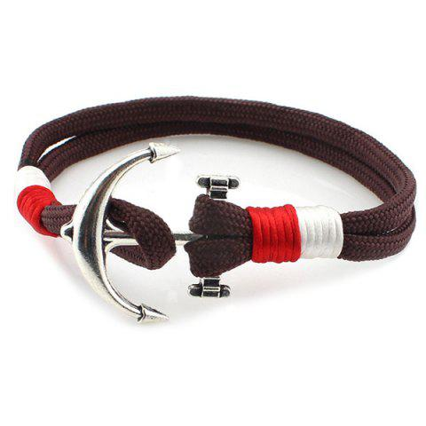 Layered Anchor Knitted Bracelet - BROWN
