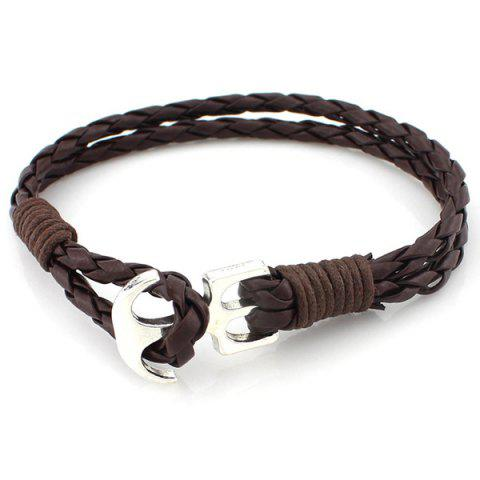 Layered Anchor PU Leather Braided Bracelet - BROWN