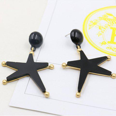 Bead Star Drop Earrings - BLACK