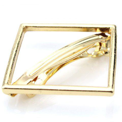Simple Solid Color Hollow Out Square Hairpin For Women - GOLDEN