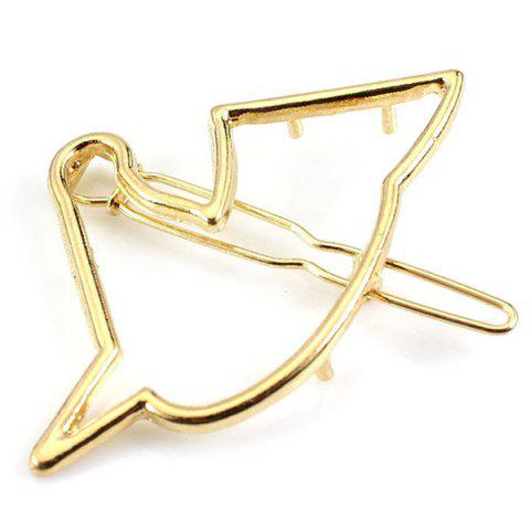 Simple Solid Color Hollow Out Birdie Hairpin For Women - GOLDEN