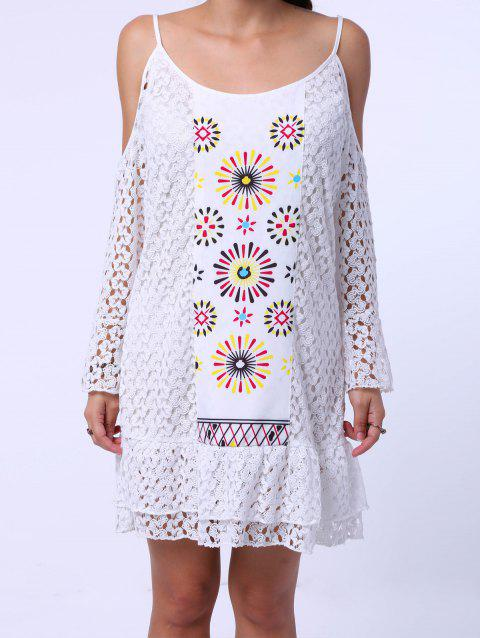 Sweet Spaghetti Strap Long Sleeve Shoulder Cut Out Lace Dress For Women - WHITE L