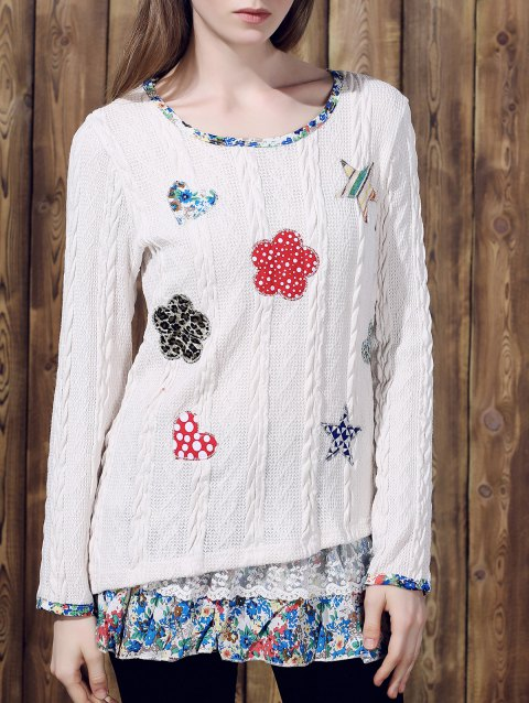 Casual Women's Jewel Neck Long Sleeves Applique Sweater - OFF WHITE XL
