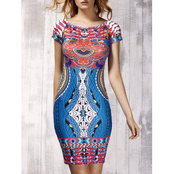 Novelty Off-The-Shoulder Short Sleeves Printed Women's Sheath Dress