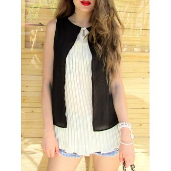 Stylish Women's Scoop Neck Sleeveless Double Layered Blouse