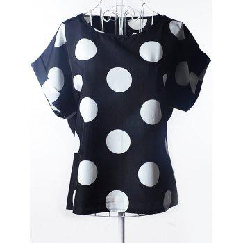 Oversized Scoop Neck Polka Dot Print Blouse