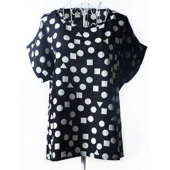 Trendy Women's Plus Size Scoop Neck Geometric Pattern Blouse