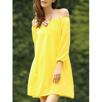 Off The Shoulder Long Sleeve Solid Color Chiffon Dress