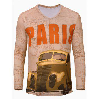 Trendy Men's Car Printing Long Sleeves T-Shirt
