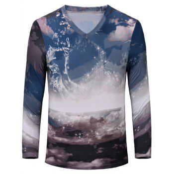 Trendy Printing Long Sleeves Men's T-Shirt
