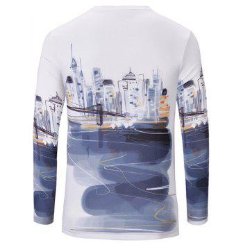 Casual Statue of Liberty Printed Men's Long Sleeves T-Shirt - WHITE S