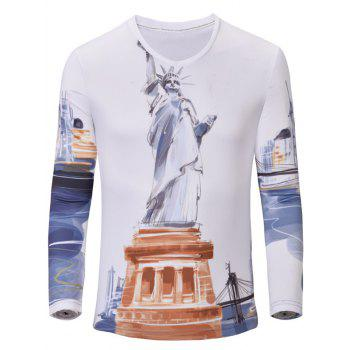 Casual Statue of Liberty Printed Men's Long Sleeves T-Shirt