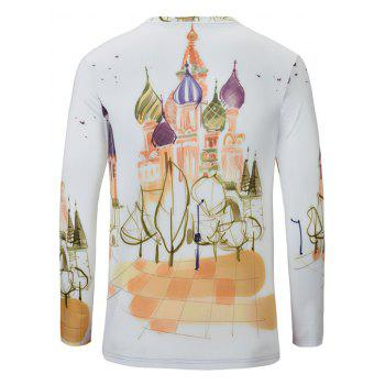 Casual Castle Printed Men's Long Sleeves T-Shirt - WHITE S