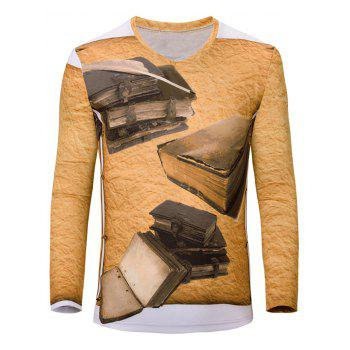 Casual 3D Book Printed Men's Long Sleeves T-Shirt
