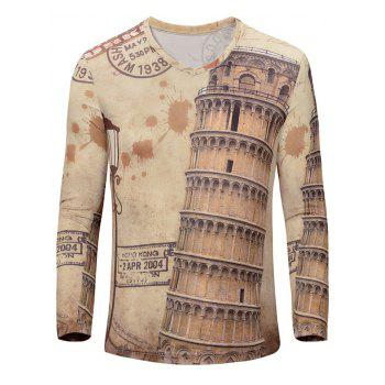 Casual 3D Leaning Tower of Pisa Printed Men's Long Sleeves T-Shirt