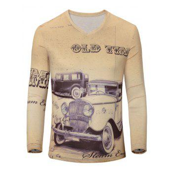 Casual Car Printed Men's Long Sleeves T-Shirt