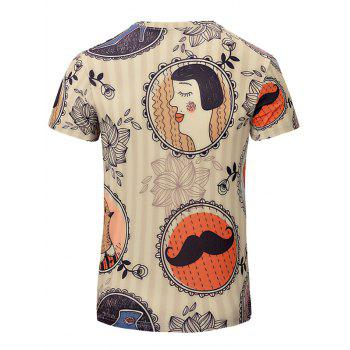 Trendy Men's Lips Printing Short Sleeves T-Shirt - BEIGE XL