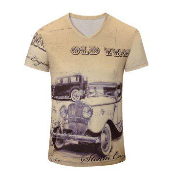 Trendy Men's Car Printing Short Sleeves T-Shirt