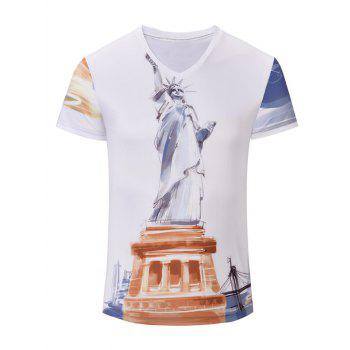 Trendy Men's Statue of Liberty Printed Short Sleeves T-Shirt